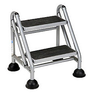 Cosco; Rolling Commercial Step Stool, 2-Step, 19 7/10 Spread, Black/Platinum