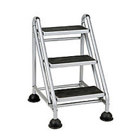 Cosco; Rolling Commercial Step Stool, 3-Step, 26 3/5 Spread, Black/Platinum