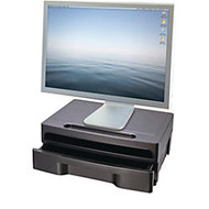 OIC; Monitor Stand With Drawer, Black