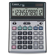 Canon BS1200TS Desktop Calculator - Metal Cover, Auto Power Off, Rubber Grip, Non-slip Rubber Feet - 12 Digits - LCD - Battery/Solar Powered - 1.1 inch; x 5.1 inch; x 7.3 inch; - Metallic Gray - 1 Each