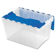 Akro-Mils Keep Box Container With Lid, 21 1/2 inch; x 15 inch; x 12 1/2 inch;, Clear/Blue Lid