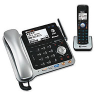AT&T TL86109 DECT 6.0 Digital 2-Line Corded/Cordless Phone With Digital Answering System, Silver/Black