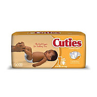 Cuties; Baby Diapers, Size 1, 8-14 Lb, Box Of 50