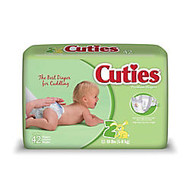 Cuties; Baby Diapers, Size 2, 12-18 Lb, Box Of 42