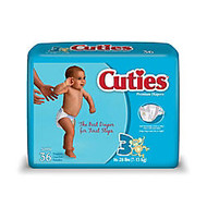 Cuties; Baby Diapers, Size 3, 16-28 Lb, Box Of 36