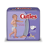 Cuties; Baby Diapers, Size 4, 22-37 Lb, Box Of 31