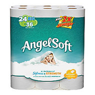 Angel Soft PS; 2-Ply Bathroom Tissue, White, 198 Sheets Per Roll, 24 Rolls Per Pack, 4 Packs Per Carton