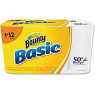 Bounty Basic Paper Towels - 1 Ply - 66 Sheets/Roll - White - Durable, Embossed, Absorbent, Perforated - For Kitchen - 8 / Pack