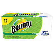 Bounty; 2-Ply Paper Towels, 11 inch; x 10 1/5 inch;, White, 40 Sheets Per Roll, Pack Of 15 Rolls