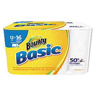 Bounty; Basic Select-A-Sheet 1-Ply Paper Towels, 11 inch; x 5 9/10 inch;, White, 95 Sheets Per Roll, Pack Of 12 Rolls