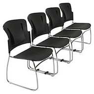 Balt; ReFlex Stacking Chair, Black, Set Of 4