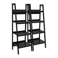 Altra Ladder Bookcases, 60 inch;H x 20 1/2 inch;W x 18 1/2 inch;D, Black, Box Of 2
