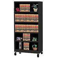 Atlantic Metal Industries Mobile Steel Bookcase, 5 Shelves, 78 inch;H x 36 inch;W x 18 inch;D, Black
