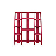 Altra Ladder Bookcase Towers With Desk, 11 Shelves, 59 1/2 inch;H x 51 3/5 inch;W x 18 inch;D, Red