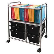 Advantus; 5-Drawer Mobile Storage File Cart, 15 3/8 inch;H x 21 5/8 inch;W x 28 3/8 inch;D, Silver/Black