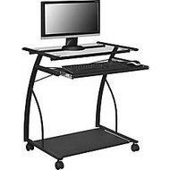 Altra Glass Mobile Computer Cart, 29 1/8 inch;H x 26 3/4 inch;W x 18 7/8 inch;D, Black