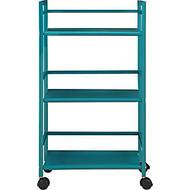 Ameriwood™ Altra Marshall 3-Shelf Metal Rolling Utility Cart, 30 inch;H x 17 inch;W x 12 inch;D, Teal