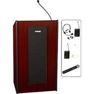 AmpuVox Presidential Plus Wireless Lectern, 46 1/2 inch; x 20 1/2 inch; x 25 1/2 inch;, Mahogany