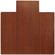 Anji Mountain Bamboo Roll-Up Chair Mat, 55 inch; x 57 inch;, 1/4 inch;-Thick, 9 1/4 inch; Tongue, Dark Cherry
