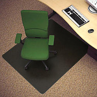 Deflect-O; Black Vinyl Chair Mat For Hard Floors, 45 inch;W x 53 inch;D