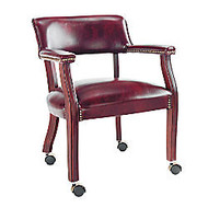 Alera; Traditional Guest Chair With Arms And Casters, 30 inch;H x 23 inch;W x 21 inch;D, Mahogany Frame, Oxblood Burgundy Fabric
