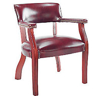 Alera; Traditional Guest Chair With Arms, 30 inch;H x 23 inch;W x 21 inch;D, Mahogany Frame, Oxblood Burgundy Fabric