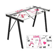 Lumisource Exponent Desk, 28 3/4 inch;H x 44 1/2 inch;W x22 3/4 inch;D, Love in Paris Graphic Top