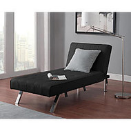 DHP Emily Chaise Lounger, Faux Leather, 32 1/2 inch;H x 61 1/2 inch;W x 30 inch;D, Black