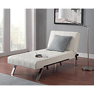 DHP Emily Chaise Lounger, Faux Leather, 32 1/2 inch;H x 61 1/2 inch;W x 30 inch;D, Vanilla