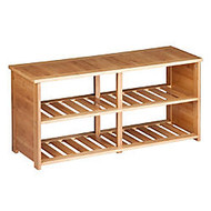 Honey-Can-Do 10-Pair Shoe Bench, 19 1/2 inch;H x 42 1/8 inch;W x 13 1/8 inch;D, Bamboo