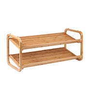 Honey-Can-Do 2-Tier Bamboo Shoe Rack, 14 1/2 inch;H x 30 inch;W x 13 inch;D, Natural