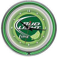 Bud Light Lime; 14 inch; Neon Wall Clock, Green