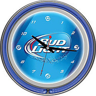 Bud Light; 14 inch; Neon Wall Clock, Blue
