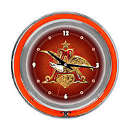 Budweiser A & Eagle; Neon Clock, 14 inch; Diameter, Orange
