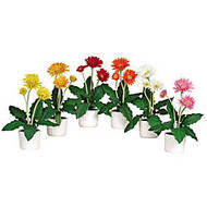 Nearly Natural 12 inch; Silk Gerber Daisy With Vase, Multicolor, Set Of 6