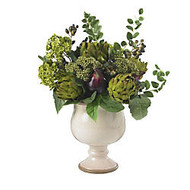 Nearly Natural 15 inch;H Silk Artichoke And Hydrangea Arrangement With Ceramic Vase