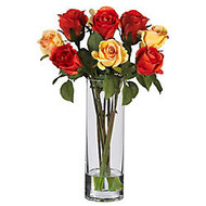Nearly Natural 16 inch; Silk Roses With Vase, Red/Yellow