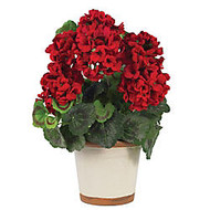 Nearly Natural 17 inch; Geranium Plant With Ceramic Pot, Red