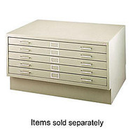 Safco; Closed Base, For 46 3/8 inch;W 5-Drawer Flat File