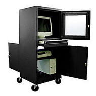 Atlantic Metal Industries Mobile Computer Security Cabinet, Black