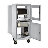 Atlantic Metal Industries Mobile Computer Security Cabinet, Dove Gray