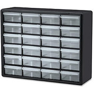 Akro-Mils 24-Drawer Plastic Storage Cabinet - 24 Drawer(s) - 15.8 inch; Height x 6.4 inch; Depth - Floor, Wall Mountable - Black, Clear - Plastic, Polymer - 1Each
