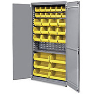 Akro-Mils AkroBin Storage Cabinet - 12 Compartment(s) - Compartment Size 5 inch; x 5.50 inch; x 10.88 inch; - 78 inch; Height x 36 inch; Width x 19 inch; Depth - Floor - Gray - Steel - 1Each