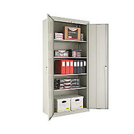 Alera Steel Storage Cabinet, 5 Shelves, 78 inch;H x 36 inch;W x 18 inch;D, Light Gray