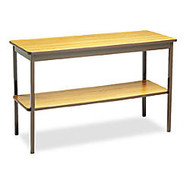 Barricks Utility Table - Rectangle Top - Square Leg Base - 4 Legs - 48 inch; Table Top Length x 18 inch; Table Top Width x 0.75 inch; Table Top Thickness - 30 inch; Height - Assembly Required - Steel