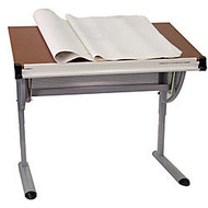 Flash Furniture Adjustable Drawing And Drafting Table, 47 3/4 inch;H x 45 1/4 inch;W x 28 1/4 inch;D, Pewter