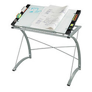Safco; Expressions Glass-Top Drafting Table, 31 1/2 inch;H x 41 inch;W x 24 inch;D, Silver
