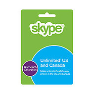 Skype Prepaid eCard - 12 Month Unlimited US & CA Subscription , Download Version