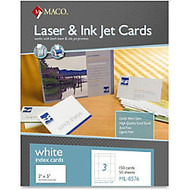 MACO Micro-perforated Laser/Ink Jet Unruled Index Cards - 5 inch; x 3 inch; - 150 / Box - White