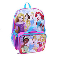 Backpack With Lunch Kit, Disney Girls' Princess, Pink/Purple